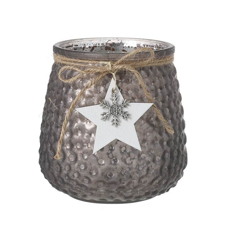 Glass Tea Light Holder with White Star