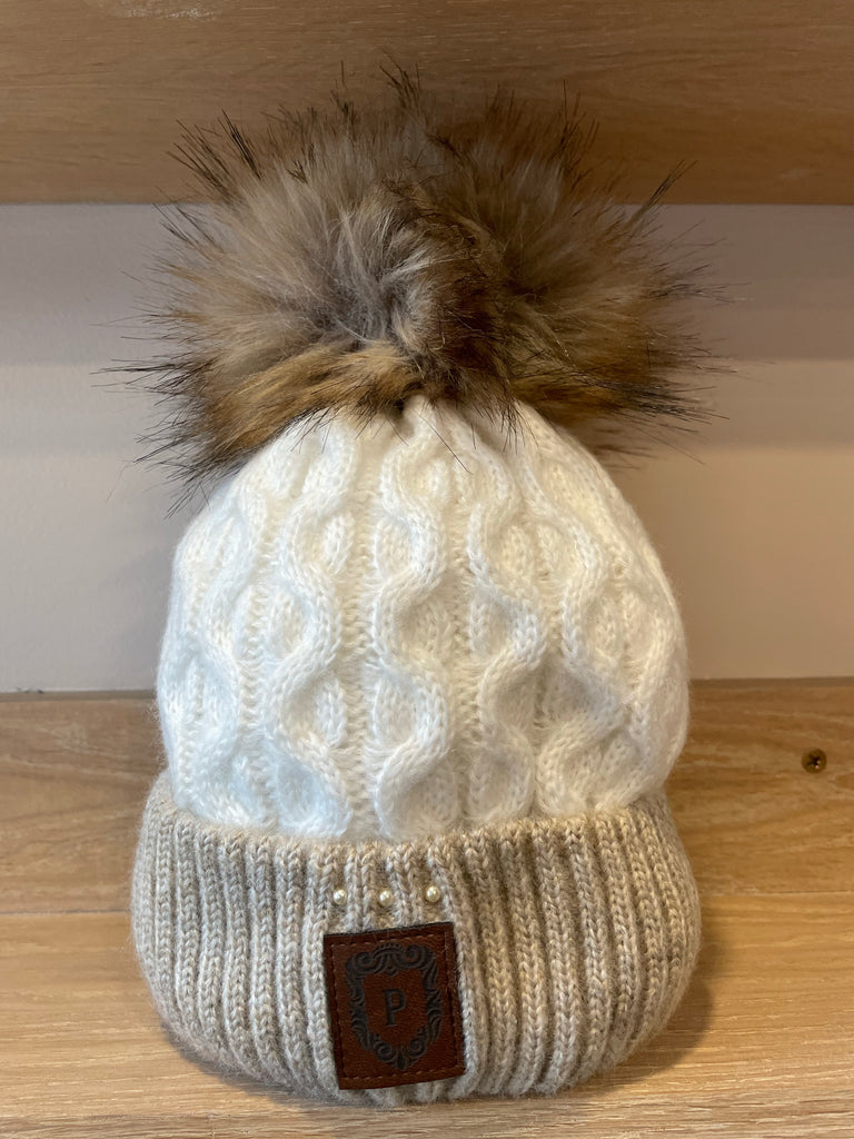 Perfect White/Beige Bobble Hat