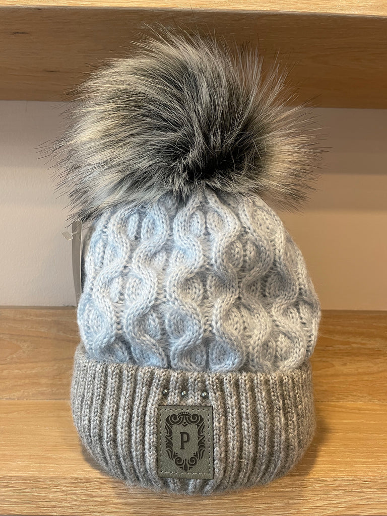 Perfect Baby Blue/Grey Bobble Hat