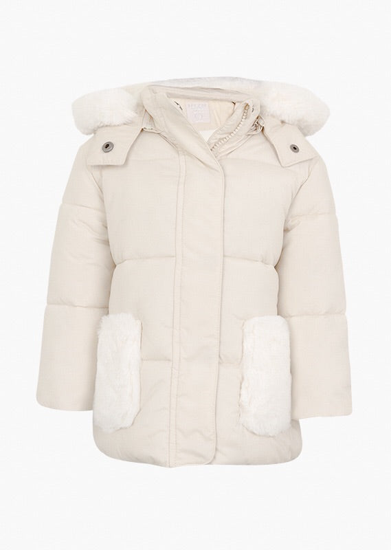 Losan Cream Coat with Fluffy Patches