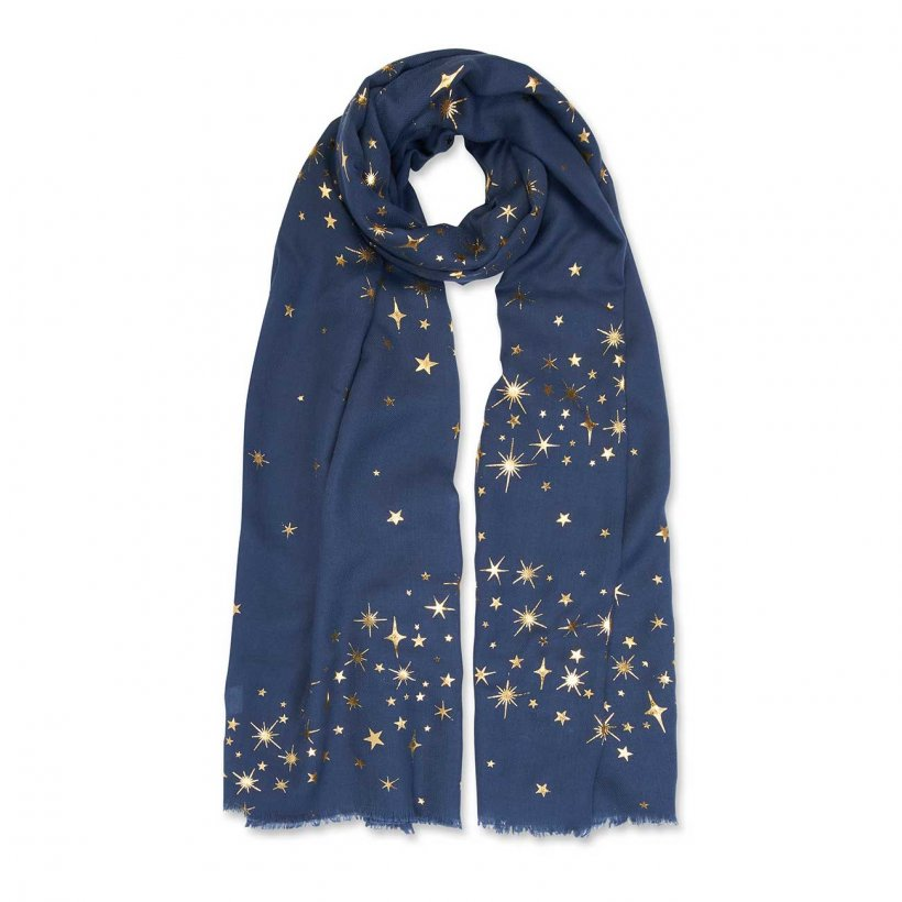 Katie Loxton Metallic Boxed Scarf Navy