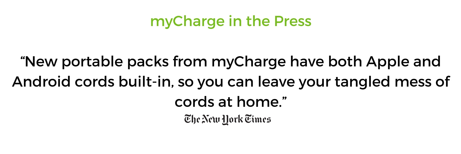 myCharge Press Clip - New York Times