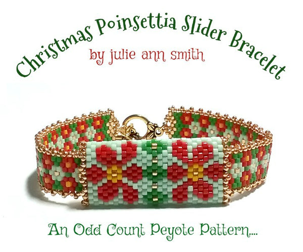 CHRISTMAS POINSETTIA Slider Bracelet Pattern