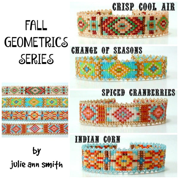 FALL GEOMETRICS Square Stitch or Loom Bracelet Pattern