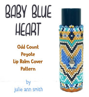 BABY BLUE HEART Lip Balm Cover Pattern