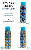 BLUE PLAID HEARTS Lip Balm Cover Pattern