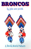 BRONCOS Bracelet Pattern and Brick Stitch Earrings Pattern