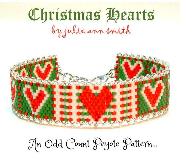 CHRISTMAS HEARTS Skinny Mini Bracelet Pattern
