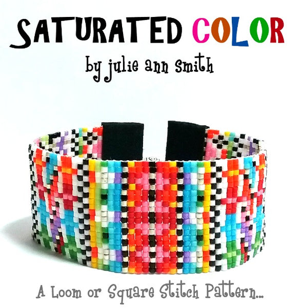 SATURATED COLOR Square Stitch or Loom Bracelet Pattern