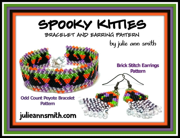 SPOOKY KITTIES Bracelet and Earring Pattern