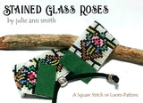 STAINED GLASS ROSES Square Stitch or Loom Bracelet Pattern