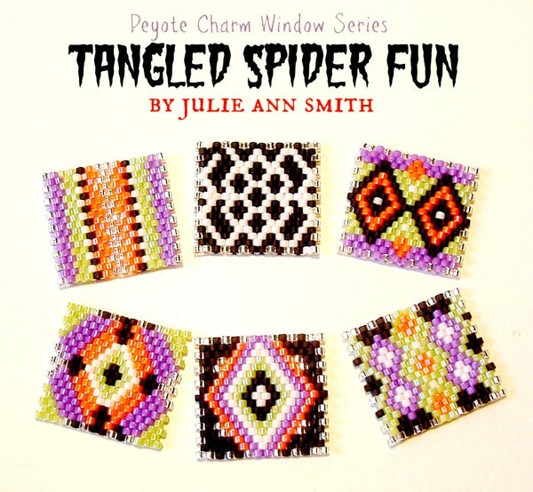 TANGLED SPIDER FUN Peyote Charm Windows Pattern