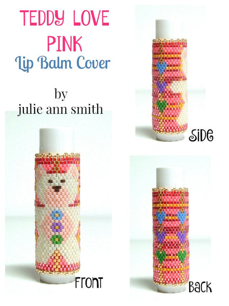 TEDDY LOVE PINK Lip Balm Cover Pattern