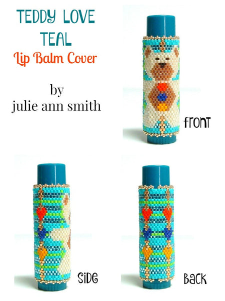 TEDDY LOVE TEAL Lip Balm Cover Pattern
