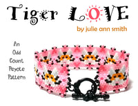 TIGER LOVE Bracelet Pattern and Brick Stitch Earring Pattern