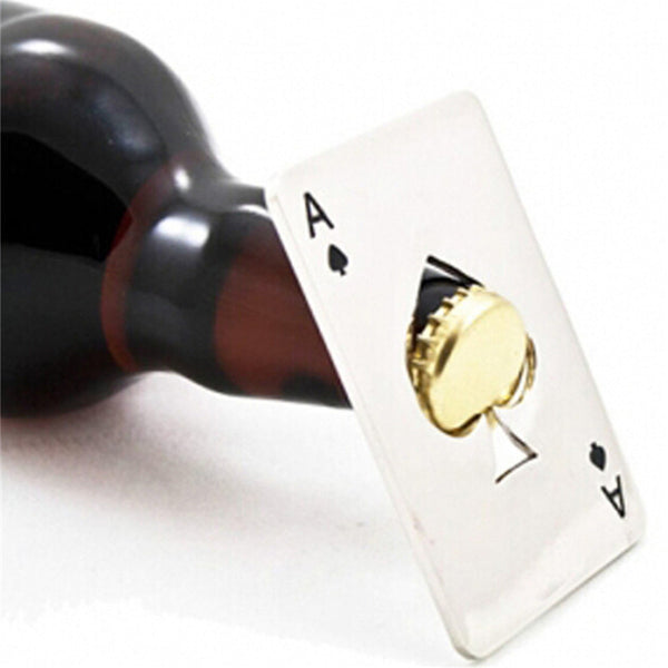 Ace of Spades Playing Card Bottle Cap Opener