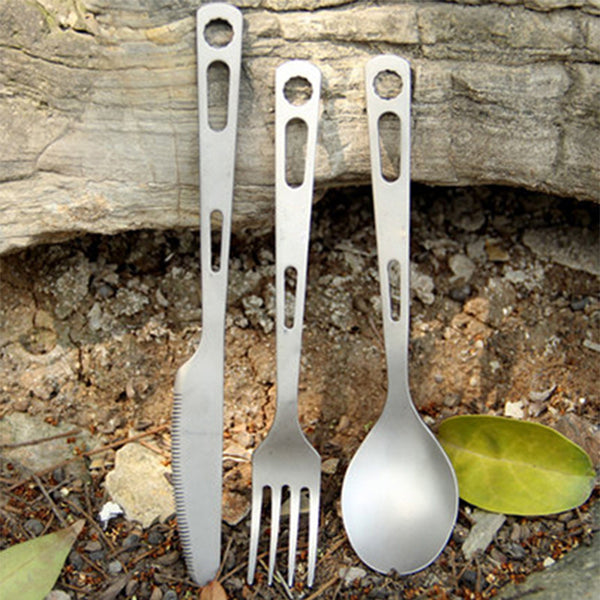 Titanium Cutlery 3 Piece Eating Utensils Camping Picnic Cookware