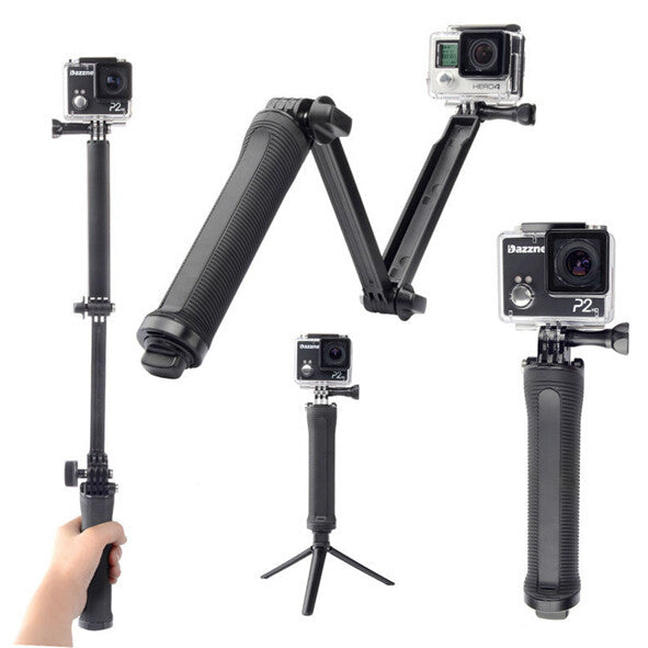 Collapsible 3 Way Go Pro Camera Grip Extension Arm