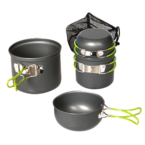 Portable Outdoor Camping Pan Pot Saucepan Cookware 4 Piece