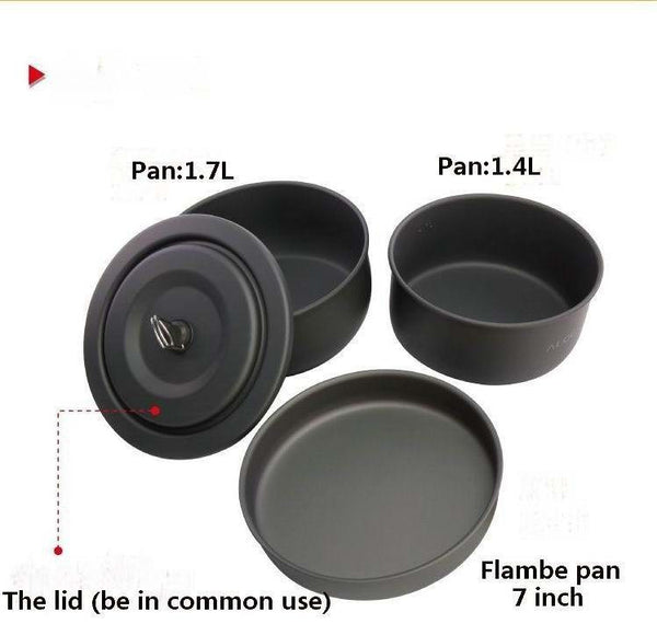 10PCS Camping Cook Set With Furnace Wind Cap Super Light