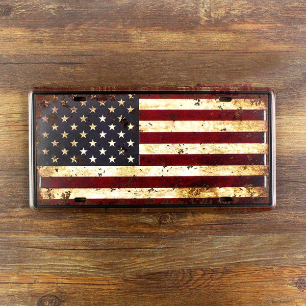 America Flag Vintage Metal License Plate