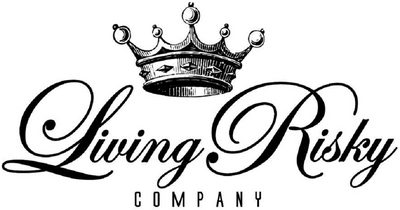 Living Risky Company brand logo. Big Crown Logo design with Living Risky Company script logo.