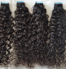 Virgin Hair Tape Extensions Curly