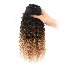 Clip-ins  Curly Hair Extensions Grade 8A - OMBRE BLACK BROWN BLOND - Chandra Hair