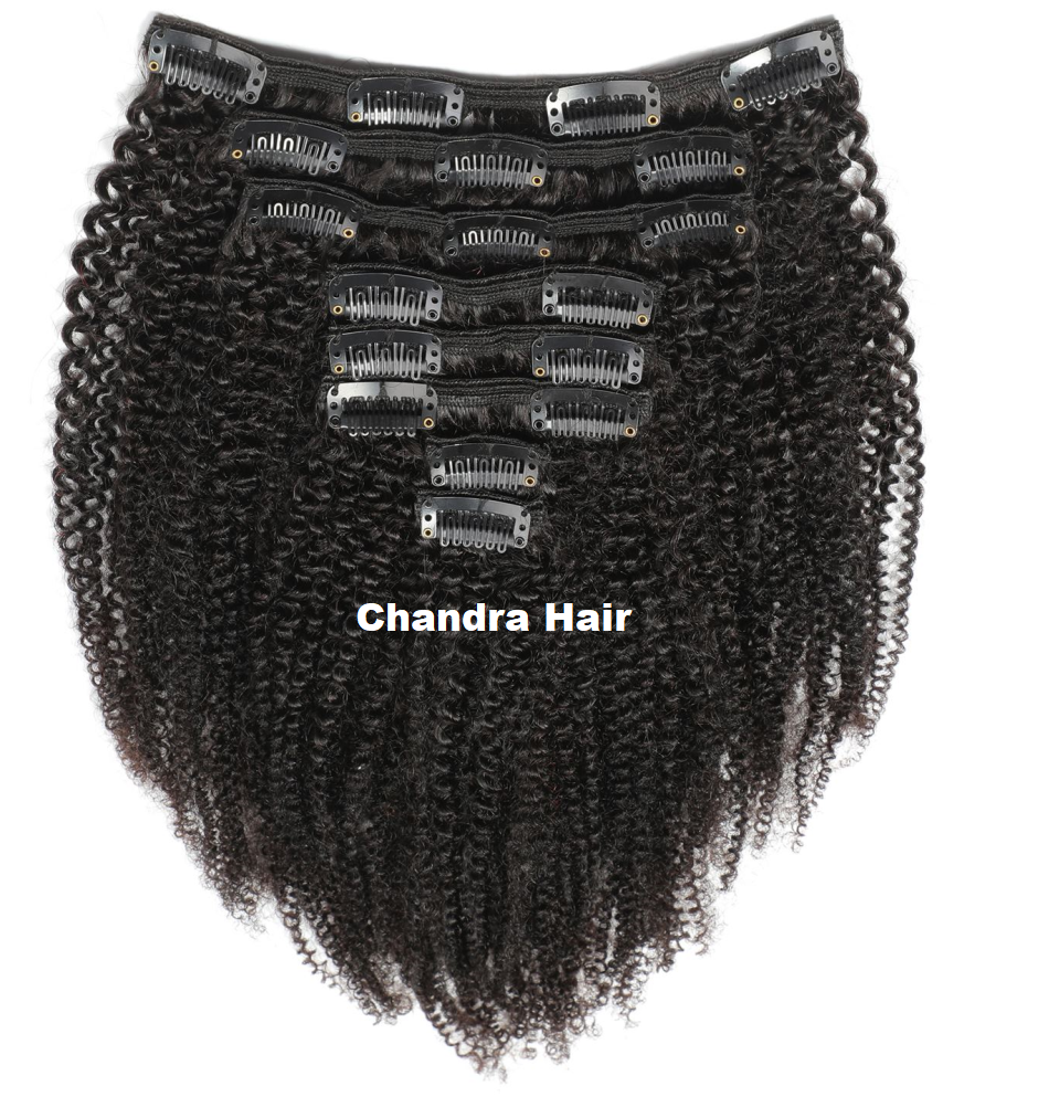 Clip-ins Kinky Curly Hair Extensions Grade 8A - Chandra Hair