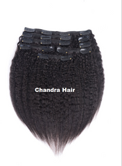 Clip-ins Kinky Straight Hair Extensions Grade 8A - Chandra Hair