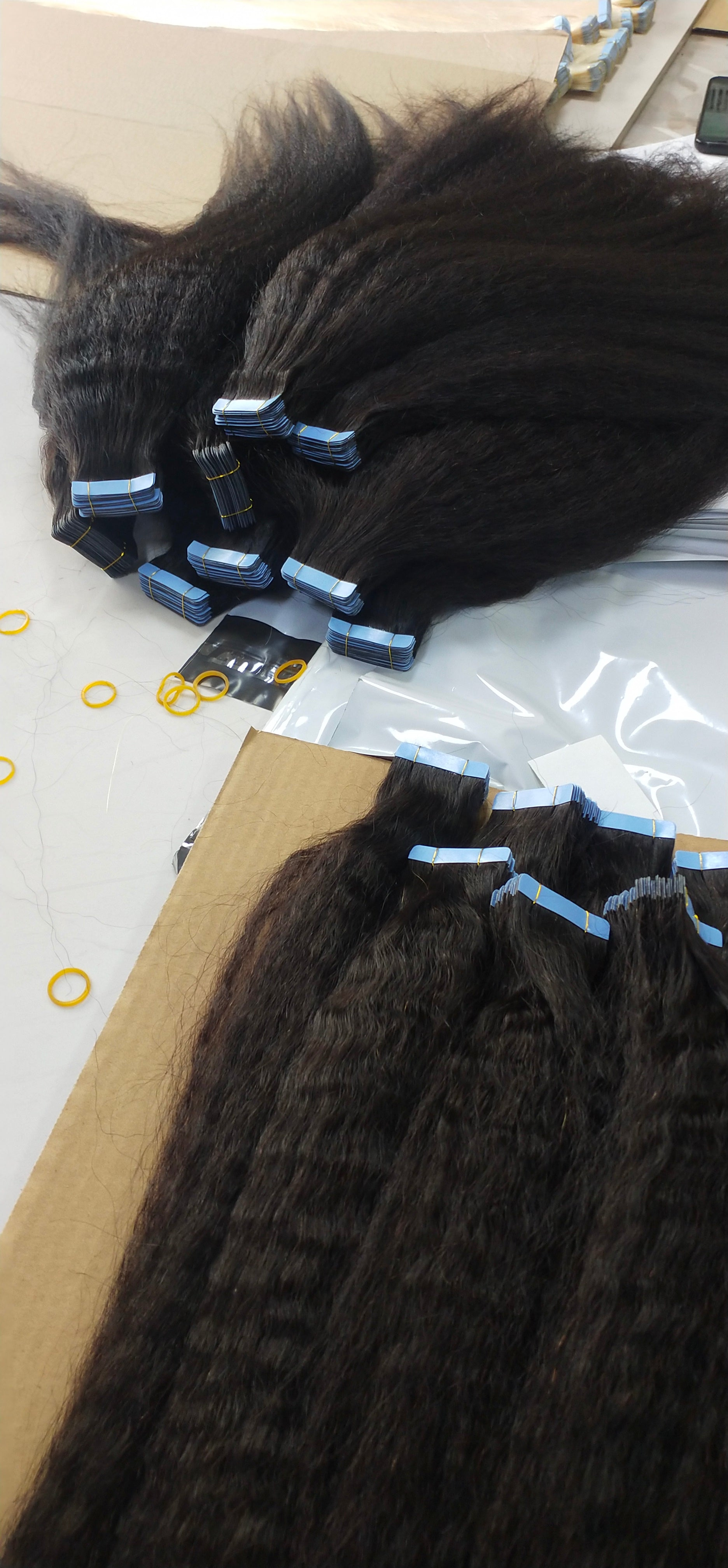 Virgin Hair Tape Extensions Kinky Straight (Grade 9A)