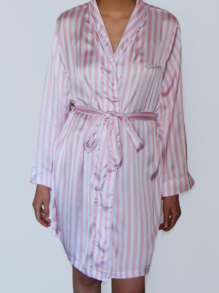 PINK & WHITE STRIPED ROBE