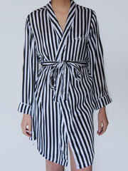 BLACK & WHITE STRIPED ROBE