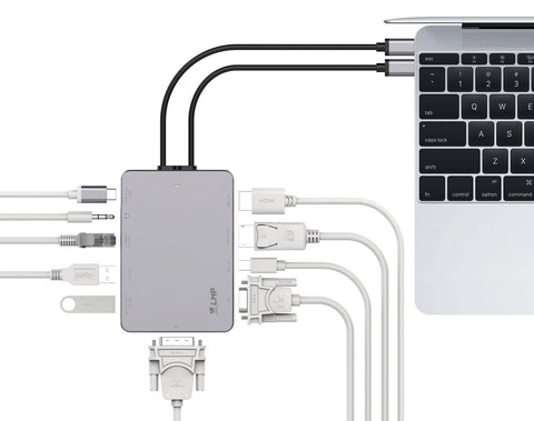 USB-C HDMI, Mini-DP, DP, DVI, VGA, Gigabit Ethernet, 2x USB 3.0, Audio out