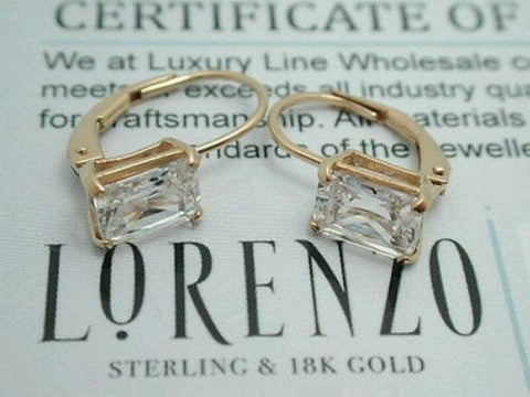 ColoreSG by LORENZO 18k Yellow Gold 925 Sterling Silver Cubic Zirconia Earrings - Random Finds Boutique