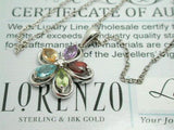 ColoreSG by Lorenzo 925 Sterling Silver 18k Gold Peridot Topaz Citrine Amethyst Flower Necklace - Random Finds Boutique
