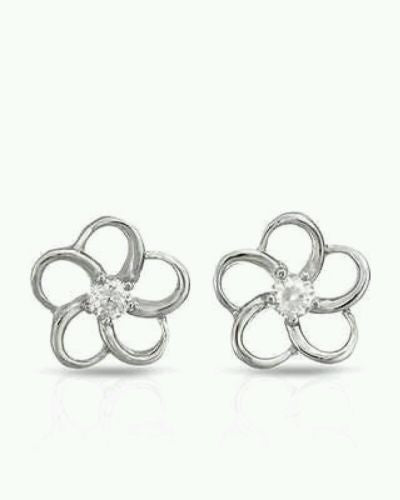 Flower Earrings With Cubic zirconia 925 Sterling Silver - Random Finds Boutique