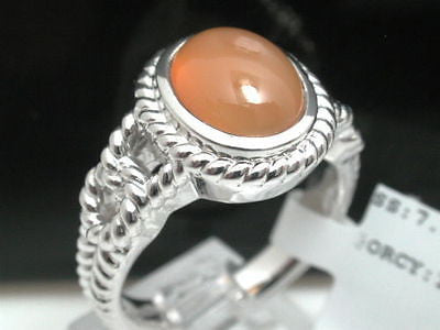 ColoreSG by LORENZO Sterling Silver 18k White Gold Orange Chalcedony Ring - Random Finds Boutique