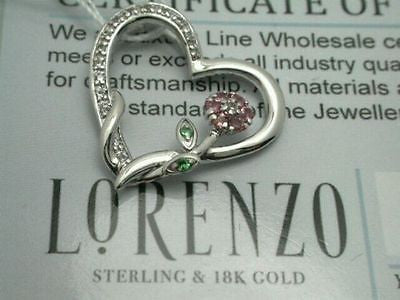 ColoreSG by LORENZO 925 Sterling Silver & 18k White Gold Multicolor Stones Heart Flower Pendant - Random Finds Boutique