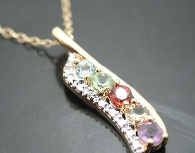 Sterling Silver 18k Yellow Gold Amethyst Topaz Peridot Garnet Diamond Necklace - Random Finds Boutique