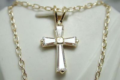 18k Yellow Gold over High End Brass AAA Quality Cubic Zirconia Cross Necklace - Random Finds Boutique