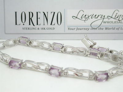 ColoreSG by LORENZO 925 Sterling Silver 18k White Gold Amethyst Diamond Bracelet - Random Finds Boutique