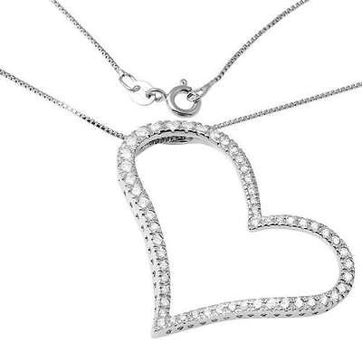 "925 Sterling Silver Cubic Zirconia Love Heart Necklace 18"" long - Random Finds Boutique"