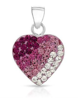 Heart Pendant Genuine Austrian Crystals Multicolor Enamel 925 Sterling Silver - Random Finds Boutique