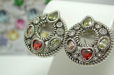 18k White Gold over High End Jewelry Brass earrings Multicolor Stones - Random Finds Boutique