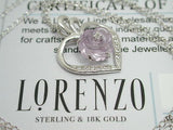 ColoreSG LORENZO 925 Sterling Silver 18k White Gold Rose Heart Amethyst Necklace - Random Finds Boutique