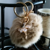 Ballerina tan fur pom pom gold color keychain with rhinestones