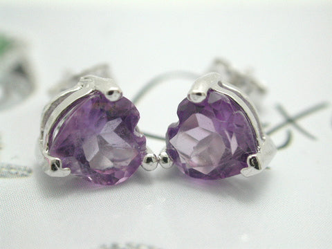 Amethyst Platinum over 925 Sterling Silver Stud Earrings - Random Finds Boutique