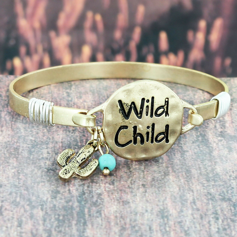 GOLD TONE 'WILD CHILD' CACTUS CHARM BRACELET