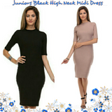Sexy High Neck 3/4 Sleeve Midi Dress